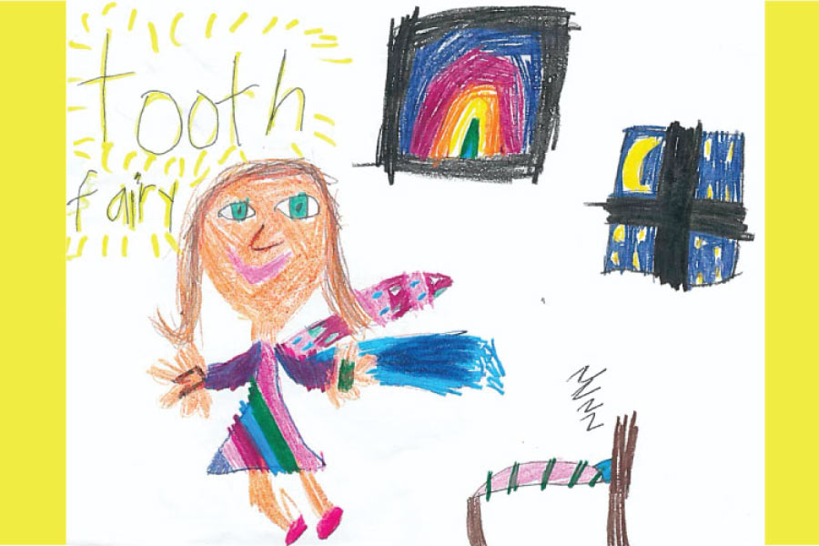 Child's drawing of the tooth fairy with a rainbow poster, bed, wand, & window showing the moon